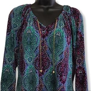 EUC Paisley Boho Colorful Soft Untuck Blouse Top